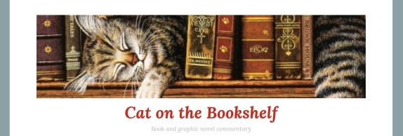 cat on the bookshelf 2